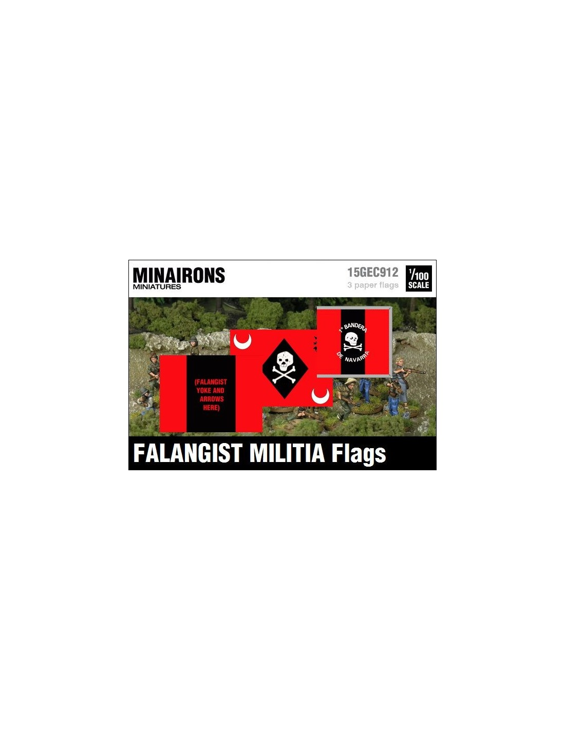 Minairons 1:100 Falangist militia flags 15mm Spanish Civil War