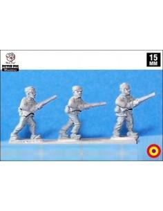 15mm Infantería republicana avanzando en pasamontañas