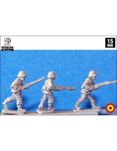 15mm Republican infantry advancing in Spanish helmet